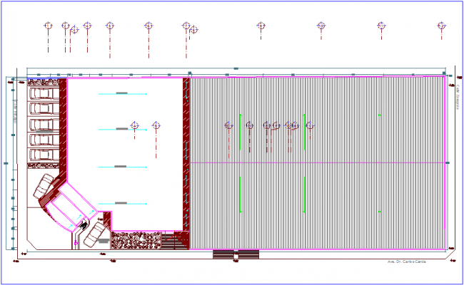 Ceiling plan of ford automobiles dealer ship dwg file