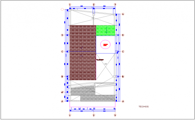 Ceiling plan of single story apartment dwg file