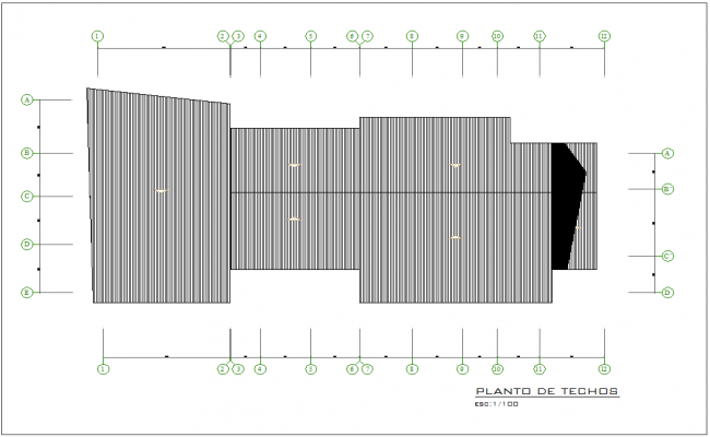 Ceiling plan with construction view for municipal building dwg file