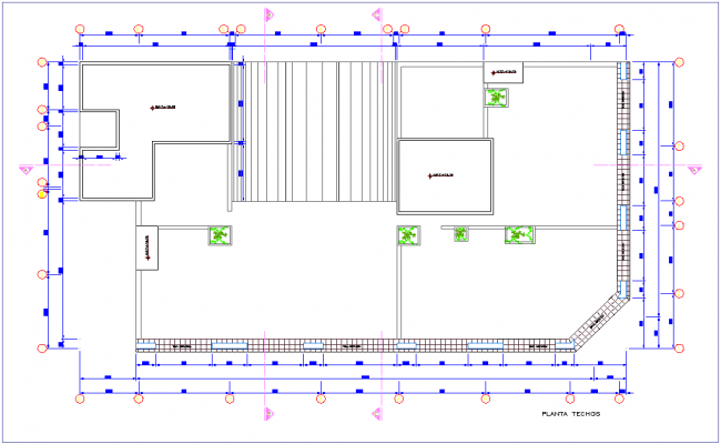 Ceiling plan with view of commercial building dwg file