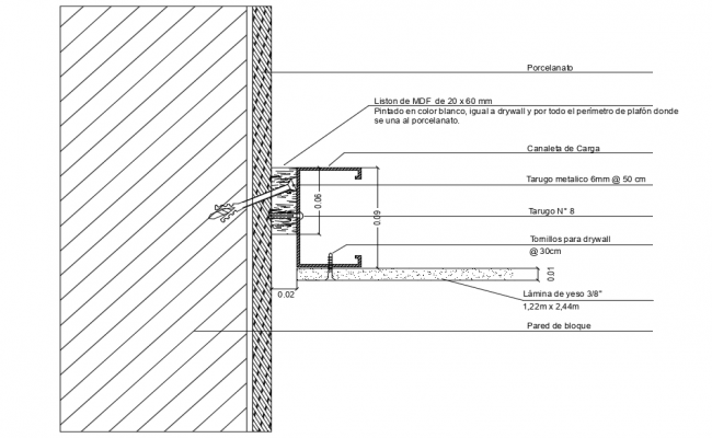Ceiling structure detail view dwg file