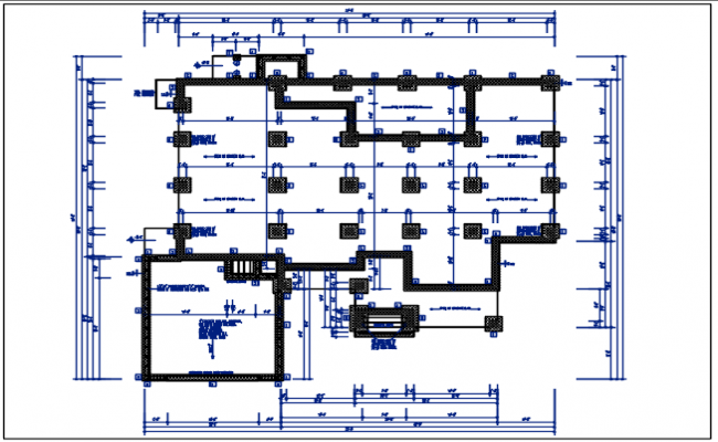 Celler area and column elevation plan view detail dwg file
