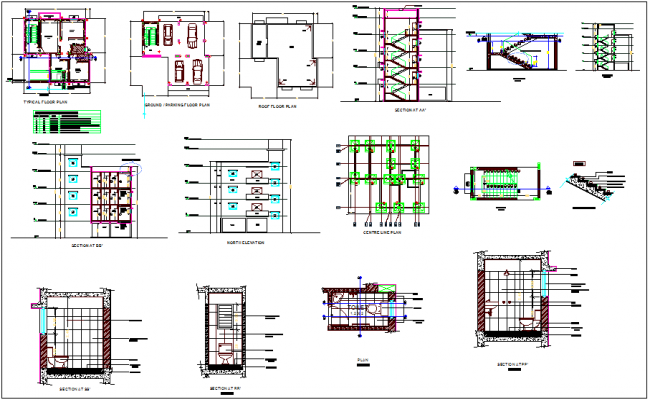 Center line,floor and roof plan view with sectional and elevation view for bungalows dwg file