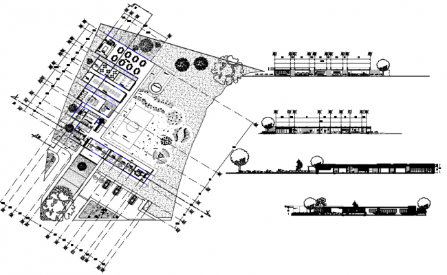 Center line Plan and elevation detail dwg file
