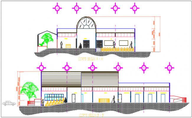Center line elevation plan detail dwg file