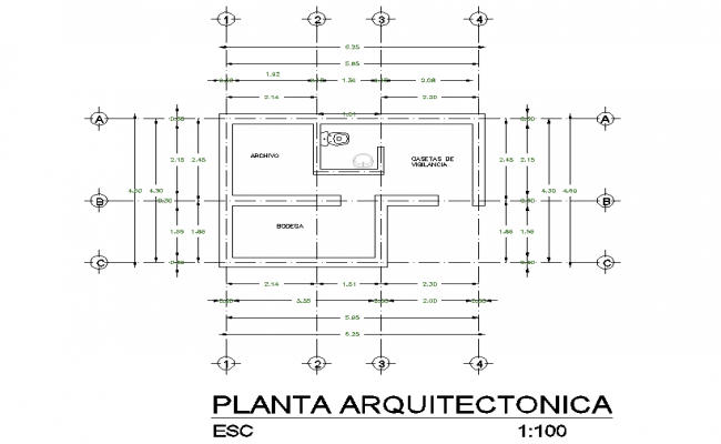 Center line house plan detail