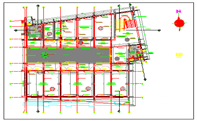 Center line layout design of School of music design drawing