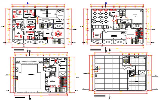 Center line office plan detail dwg file