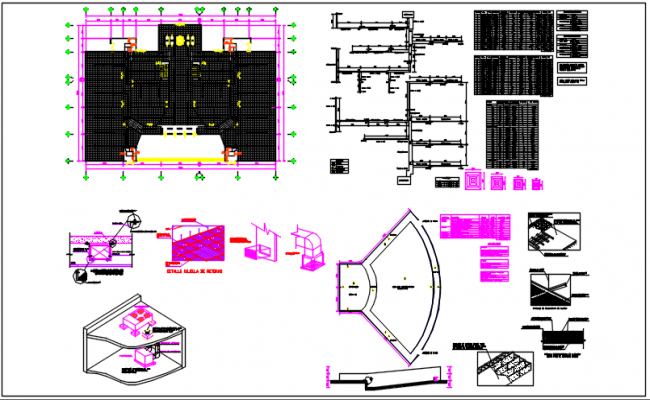 Center line plan, column detail, pedometer detail, table in door and window detail dwg file