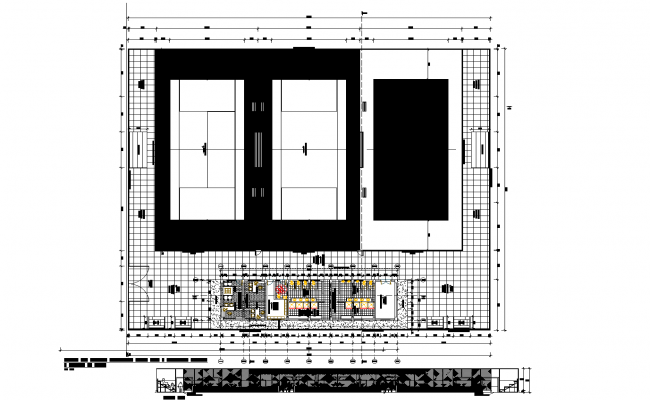 Center tennis, tennis-court plan. detail dwg file.
