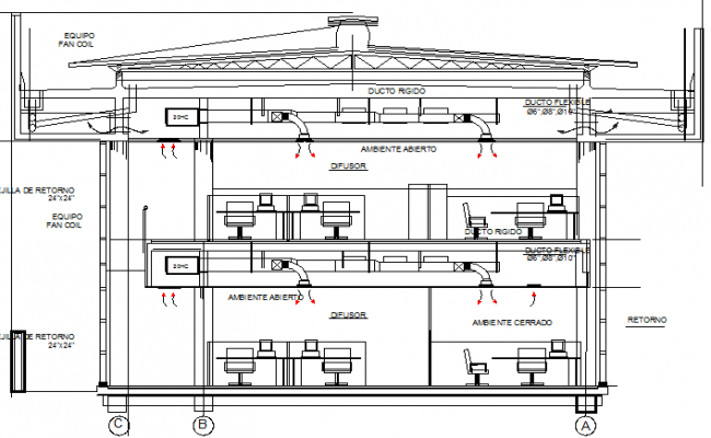 Central air conditioning installation plan office building dwg file
