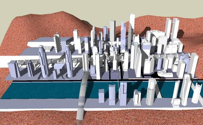 Central city two 3d town planning cad drawing details skp file