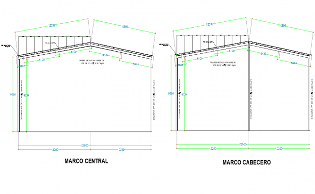 Central frame section detail dwg file
