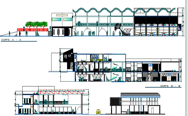 Central shopping center elevation and sectional details dwg file