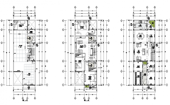 Centre line home plan detail dwg file