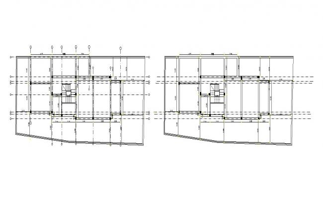 Centre line plan of a house in autocad