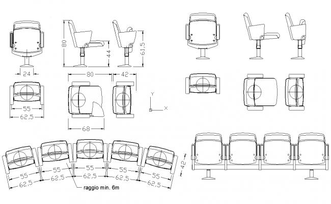 Chair Blocks dwg file
