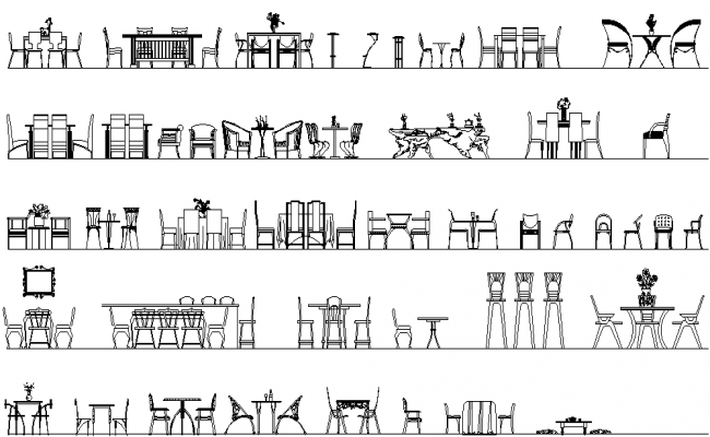 Chair and table detail dwg file