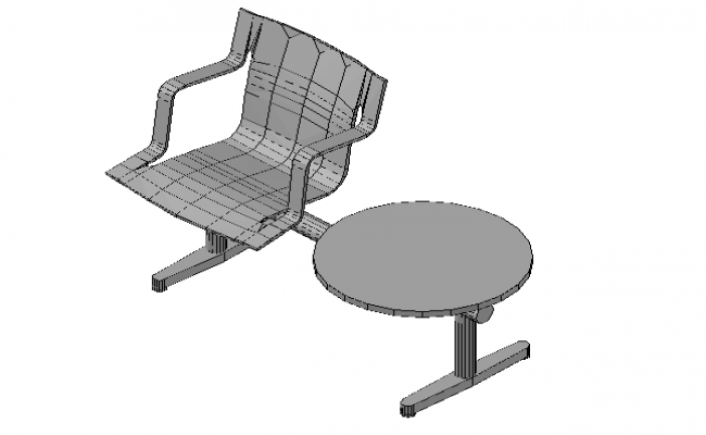 Chair with table 3d