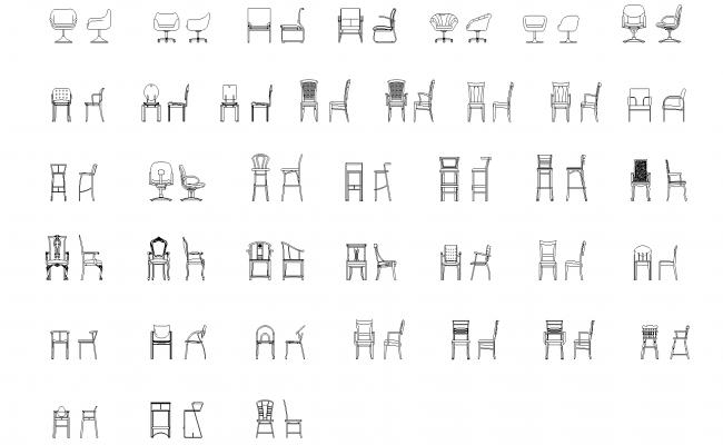 Chairs plan detail dwg file.
