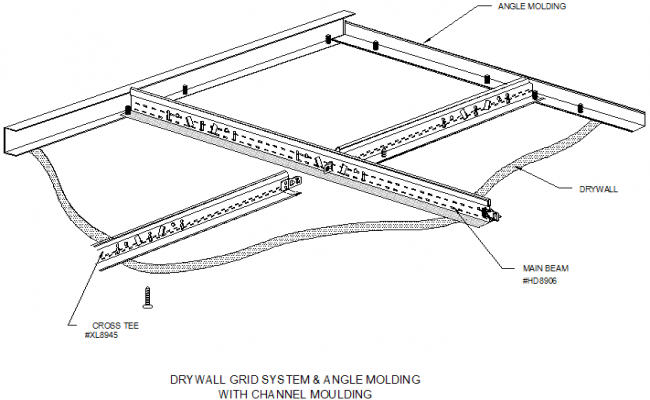 Chanel moulding with drywall grid system & angle moulding detail dwg file