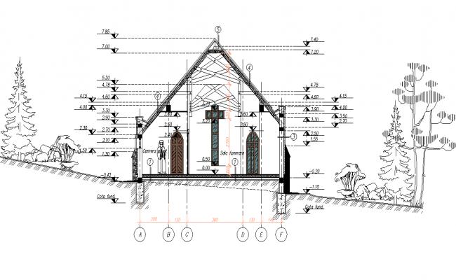 Chapel section plan detail layout file