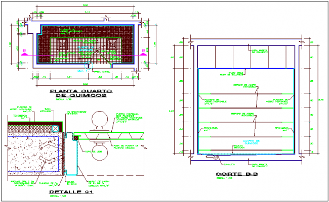 Chemical room plan,section and detail view for industries dwg file