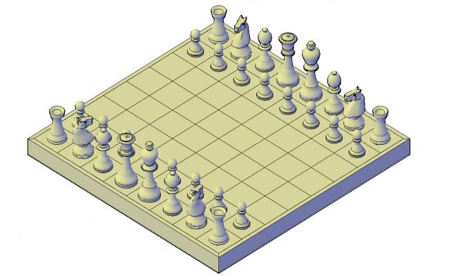 Chess set plan detail dwg file.