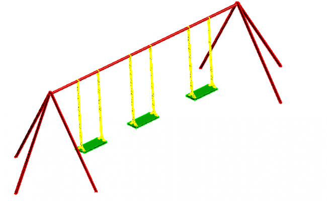 Child swing plan elevation view detail dwg file