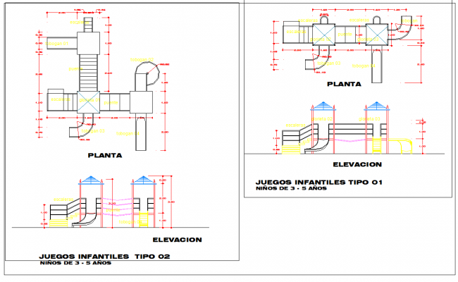 Children's outdoor play equipment drawing & autocad dwg files