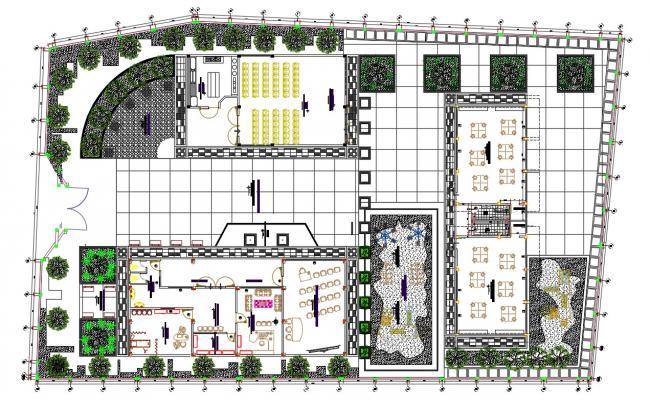 Children School Ground Floor Plan With Landscaping Design DWG File