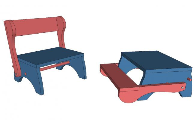 Children step stool and seat 3d drawing details skp file