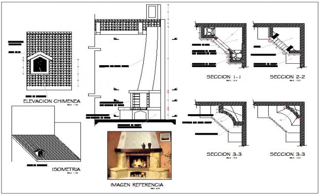 Chimney design plan layout view detail dwg file