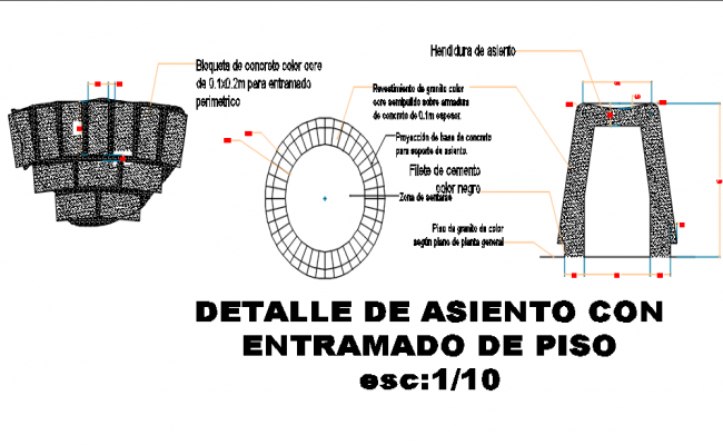 Circle shape and stone detail dwg file