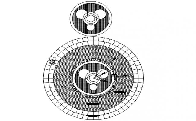 Circle shape plan detail dwg file