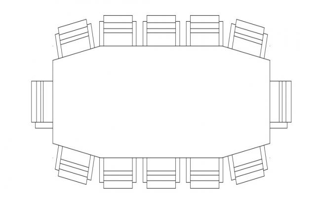 Circular Conference Table In DWG File