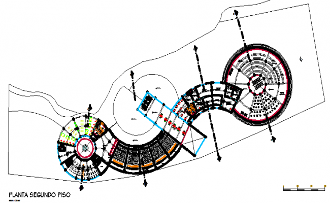 Circular design layout plan of building, corporate structure  dwg file