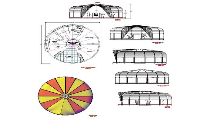 Circular shape building detail elevation dwg file