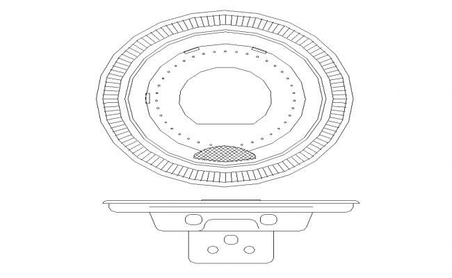 Circular shape corner sink detail elevation 2d view layout file