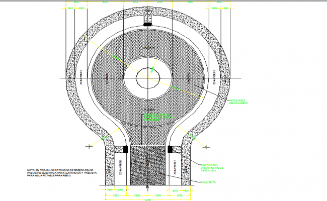 Circular street end round about right of way layout dwg file