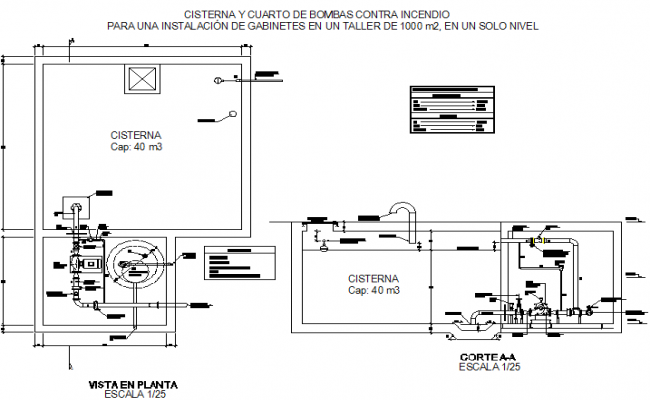 Cistern 40 m 3 plan detail dwg file