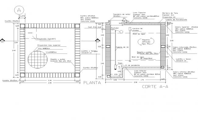Cistern plan detail dwg file.