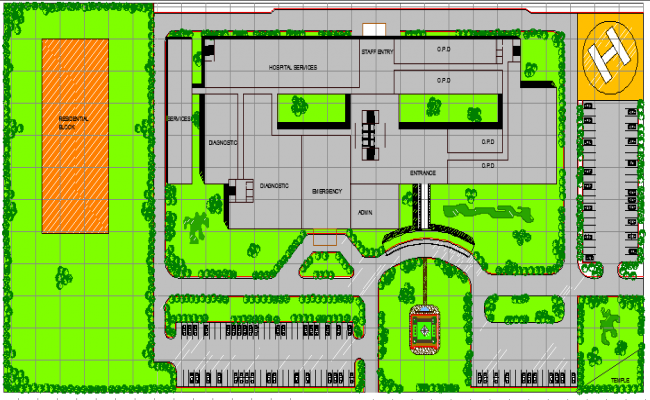 City Hospital Site Plan and Structure Details dwg file