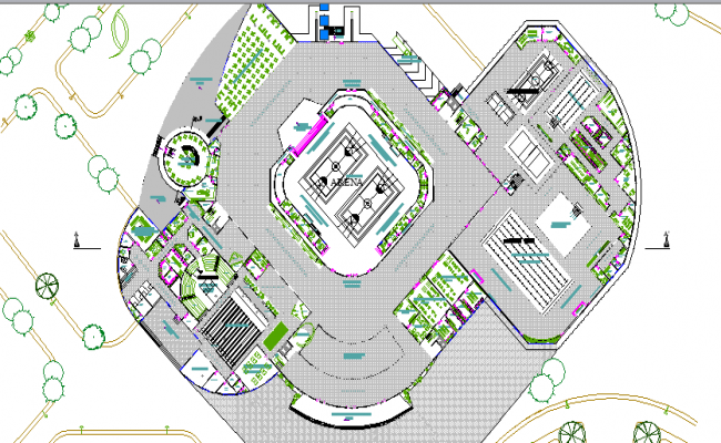 City Stadium Architecture Layout Structure of Sports Center Design dwg file