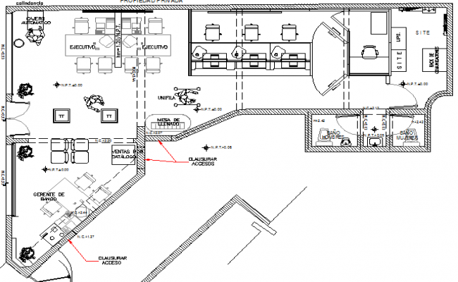 City bank architecture layout plan details dwg file