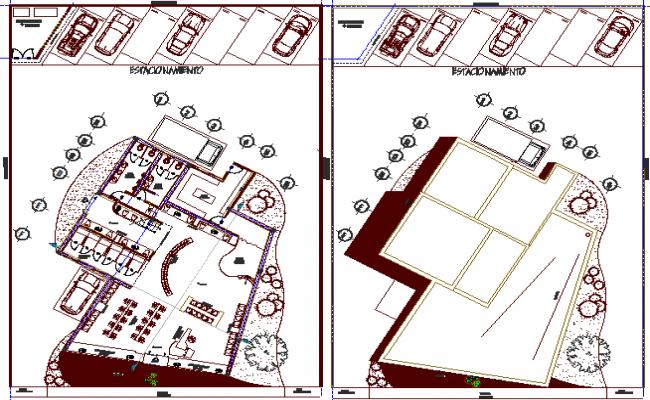 City boutique architecture layout plan dwg file