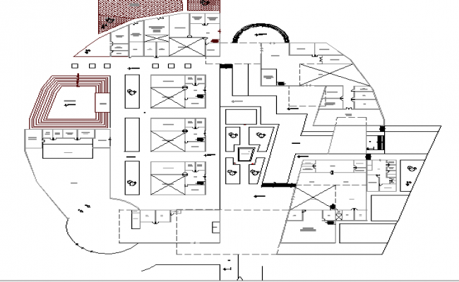 City cultural center architecture layout plan dwg file