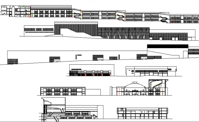City market all sided elevation and section details dwg file