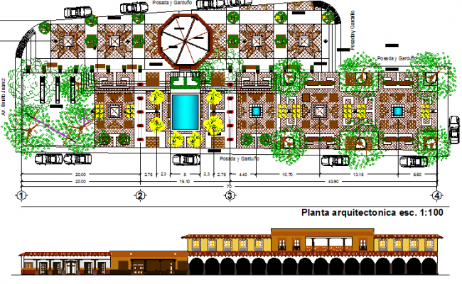 City public park architecture project dwg file