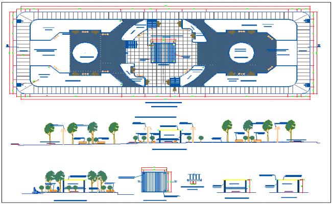 City public park architecture project dwg file